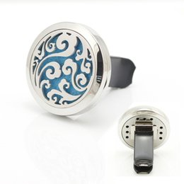Wholesale Sea Wave - 30mm Magnetic 316L Stainless Steel Sea Waves Car Perfume Locket Lucky Car Aroma Essential Oil Diffuser Locket
