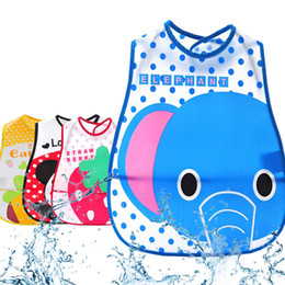 Wholesale Animal Bibs Pocket - Wholesale- Solid Bibs Infant Baby EVA Eat Pocket Baberos Cartoon Animal Print Waterproof Child Overclothes Dribble Bibs
