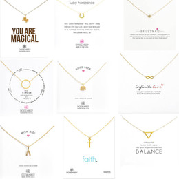 Wholesale Gold Key Necklaces For Women - 9 Styles With White Card Gold Dogeared Necklace Elephant Pearl Love Wings Unicorn Key Pendant Gold Necklace For Women Fashion Jewelry