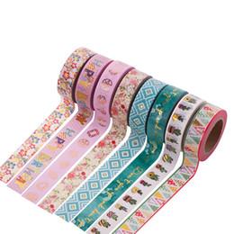 Wholesale Gold Adhesive Paper - Wholesale- 2016 1 pcs DIY Japanese Paper Decorative Adhesive Tapes Cartoon Flolwer Washi Tape Bronzing Gold Masking Tape Stickers Size 15m