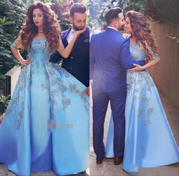 Wholesale Half Long Satin Dresses - 2017 Elegant Light Sky Blue Women Formal Evening Gowns Lace Appliques Half Long Sleeve Satin Celebrity Dress Arabic Dubai Prom Party Dresses