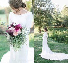 Wholesale T Back Chiffon Wedding Gown - Long Sleeves Wedding Dresses Elegant Scoop Neck White Country Beach Autumn Long Bridal Gowns Court Train Robe De Marriage Simple Style