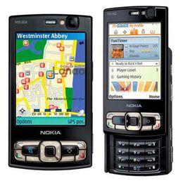 Wholesale Russian Keyboard Mobile Phone - Refurbished Original Nokia N95 8GB Unlocked Mobile Phone 2.8 inch 5.0MP Camera GSM 3G WIFI GPS English Russian Arabic Keyboard Free Post