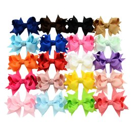 Wholesale Holiday Boutique Hair Bows - 20PCS LOT 3.3 Inch New Style Solid Ribbon Bows With Hair Clips Boutique Hairpins kids Hair Accessories Best Holiday DIY Gift