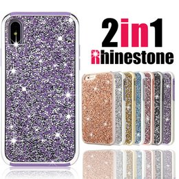 Wholesale Wholesale Champagne Diamonds - Premium wholesale bling 2 in 1 Luxury diamond rhinestone glitter back cover phone case For iPhone X 8 7 5 6 6s plus Samsung s8 note 8 cases