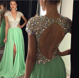 Wholesale Short Sexy Nude Crystal Dress - Long Evening Dresses 2016 Green Slit Crystals Beaded V Neck A Line Vestidos De Festa Prom Party Dresses