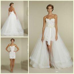 Wholesale Mini Wedding Dresses Detachable - Detachable Skirt Short Wedding Dresses Sweetheart Sleeveless Above Knee Length Sheath Mini Lace Bridal Gowns 2017 Hot Selling Custom W580