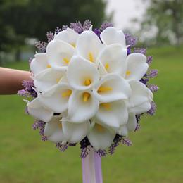 Wholesale Lilies Bouquets - White Pieces Calla Lily Ramos De Novia Artificial Wedding Bouquets Bridal Brooch Bridesmaid Flowers Bouquet Bridal Bouquet