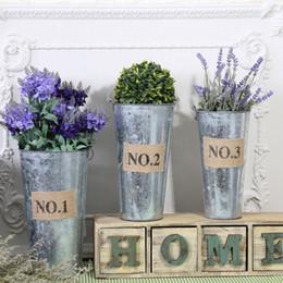 Wholesale Galvanized Planters Wholesale - Galvanized Succulent Pots Retro Tin Mini Garden Planters For Home Living Room Desktop Decor Metal Cup Silver 12 8wx3 R