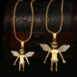 Wholesale Small Plate For Necklace - New Arrivals Hip Hop 18K Gold Plated Big or Small Angel Pendant Diamante Necklace High Quality Jewelry for Men