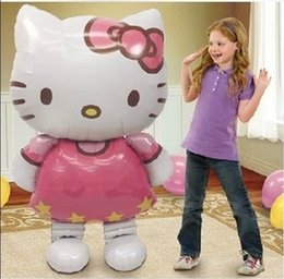 Wholesale Christmas Inflatables Outdoors - 1pcs Big Size 116*68cm Hello Kitty Outdoor Fun & Sports Christmas Birthday Wedding Decoration Party inflatable air balloons
