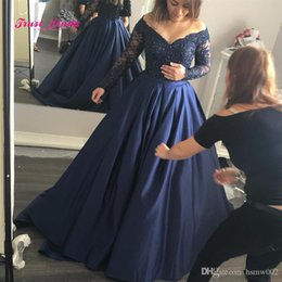 Wholesale White Pageant Dress Sale - Long Puffy Prom Dresses Ball Gown V Neck Beaded Sparkly Pageant Evening Gowns Floor Length Long Sleeves Navy Blue Prom Dress Hot Sale
