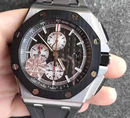 Wholesale ceramic ring stainless steel - Men's luxury JF Factory Automatic Movement Chronograph Watch 12 Oclock second hand Cal.3126 26400 Eta Titanium shell ceramic ring watches
