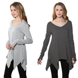 Wholesale Wholesale Women Clothes China - 2017 New Fashion Autumn Women's Long Sleeve T-Shirt Plus Size Loose Women Tops Plus Size XXL Gray Tshirt Cheap China Clothing Free Shipping