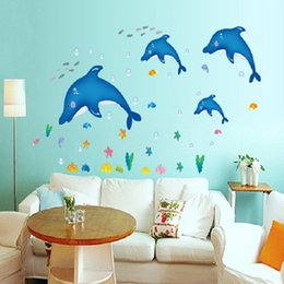 Wholesale American Girl Decorations - Children Decorative Wall Stickers Decals 3D Kids Dolphin Rooms Adhesive To Wall Decoration Removable Home Decor Large Girl