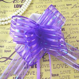 Wholesale Decoration Ribbon Bow - Wholesale--50pcs lot 5cm Large Size Purple Color Organza Pull Bows For Wedding Car Decor Wedding Organza Pull Ribbons Gift Wrap