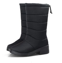 Wholesale women wedge ankle boot - Winter Women Boots Female Down Waterproof Snow Boots Tassel Mid-Calf Ladies Shoes Woman Warm Fur Botas Mujer Elastic Band No. XDX-003