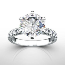 Wholesale Diamond Accent Rings - 3.5 CT DIAMOND ROUND RING VVS2 18 KT WHITE GOLD SIX PRONG CERTIFIED ACCENTS