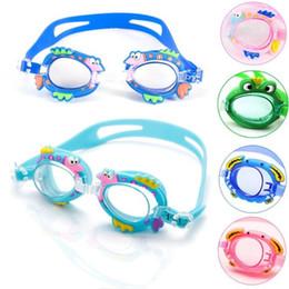 Wholesale Child Swim Goggles - Water Sports Antifog Pool Swimming Goggles Children Kids Boys Girls Diving Glasses Swim Eyewear Silicone Adjustable Colorful DHL Fedex