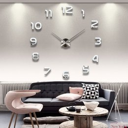 Wholesale Antique Wall Murals - Wholesale-Large DIY 3D Wall Clock Mirror Effect Stickers Decal Frameless Number Figure Home Room Mural Decor Art Craft