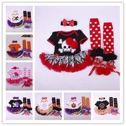 Wholesale Girl Romper Flower Skirt - Baby Girls Halloween Pumpkin Skull Head Short Sleeve Romper+Dress+ Bow Headband+Dot Stockings+Prewalker Shoe Tulle Flower Bubble Skirt
