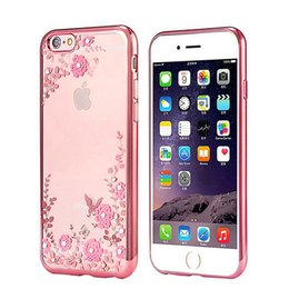 Wholesale Iphone Case Gel Flower - Secret Garden Flowers Bling Case For iPhone 7 6s Plus Samsung S7 S6 Transparent Gel TPU Phone Case Plating Electroplated TPU Phone Shell