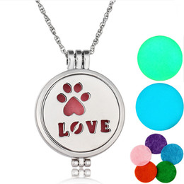 Wholesale Animal Print Essentials - New Arrive Paw Print Oil Diffuser Necklace Locket Pendant necklaces Premium Aromatherapy Essential Jewelry With 5 Pads