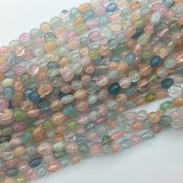 """Wholesale Pink Heart Stone - AAA High Quality Natural Genuine Clear Blue Green Pink Aquamarine Beryl Morganite Nugget Free Form Fillet Irregular Pebble Beads 15.5"""" 05348"""