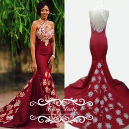 Wholesale Image Arts Photo - Unique One Shoulder Burgundy Prom Dresses Ivory 3D-Floral Appliques Long Pleat Mermaid Satin Backless Women 100% Real Photos Evening Gown