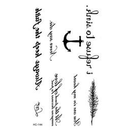 Wholesale Anchor Eyes - Wholesale- Waterproof Fake Tattoo Black Words Anchor Leaf Design Women Finger Cute Flash Tattoo Temporary Tattoos Sticker