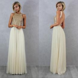 Charmming gasa Tulle con Top Champagne Gold lentejuelas vestidos de dama de honor formal vestido de fiesta 2016 vestidos largos de la ocasión especial desde fabricantes