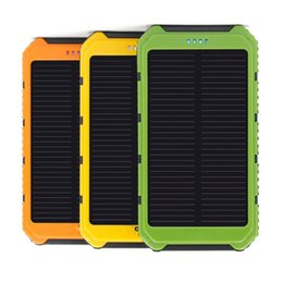 Wholesale Android Phone Solar Charger - Dual USB 5000mAh Waterproof Solar Power Bank Portable Charger Outdoor Travel Enternal Battery Powerbank for iPhone Android phone Car Charger