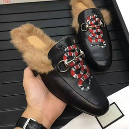 Wholesale Animal Fur Boots - free shipping Men fur Scuffs fashion Animal prints lazy Loafers rubber genuine leather flat Moccasins snake bee tiger lion slipper Boots