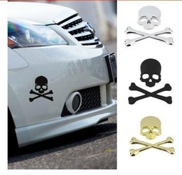Wholesale Cool Labels - 1Pc New Cool 3D Skull Metal Skeleton Crossbones Car Motorcle Sticker Label Skull Emblem Badge Car Styling Stickers Accessories