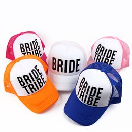 Wholesale Neon Table - Wholesale- Bride Bride Tribe Bachelorette Hats Women Wedding Preparewear Trucker Caps White Neon Summer Mesh Free Shipping