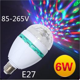 Wholesale Spot Decor - Hot Style E27 6W AC85-265V Led Bulb Lamp Colourful RGB Spot Light Auto Rotating Lighting for KTV Bar Disco Decor Lighting