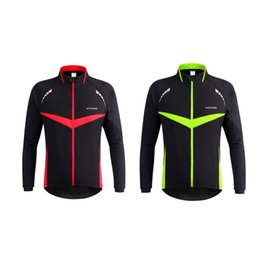 Wholesale Wholesale Running Jackets - WOSAWE Men Windproof Warm Cycling Clothes Outdoor Sport Running Jacket Winter Bike Bicycle Cycling Jersey 2510032