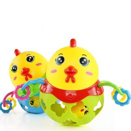 Wholesale Cartoon Baby Chickens - Wholesale- 1Pcs set Cute Rattles Handbell Chicken Musical Instrument Rhythm Shaking Baby Toy Chicken Jingle Bell Kid Educational Musical
