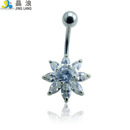 Wholesale Diy Belly Button Ring - Promotion! DIY Brand New High Quality Fashion 2 Color Rhinestone Flower Belly Button Rings For Women Body Jewelry