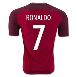 Wholesale Hot Mens Shirts - new Euro Cup Portugal jerseys Top Thai quality 2016 2017 hot 16 17 RONALDO NANI QUARESMA PEPE GUERREIRO Mens Portugal Shirts Soccer Jersey