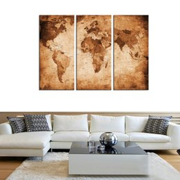 Wholesale Backpack Pictures - Canvas Wall Art 3 Panels Abstract Vintage World Map Brown Backpack Picture Prints on Canvas Map Painting Artworks for Living Room Home Decor