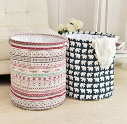 Wholesale Wholesale Canvas Bucket - Ins Storage Baskets Bins Kids Room Toys Storage Bags Bucket Clothing Organizer Laundry Bag Canvas Organizer Polka Dot Laundr