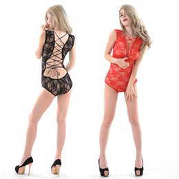 Wholesale Sexy Transparent Body Suits - Women's sexy underwear close elastic body Cross strap V-neck collar Transparent perspective lace piece suit Exposed back stretch body sculpt