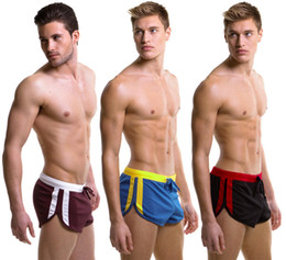 Wholesale Jock Strap String - 2017 Fashion Men's Casual Shorts Household Sports Shorts with Sexy G-string Jocks Straps Inside Pouch Gym Trunks Mesh Quick-Dry Boxers
