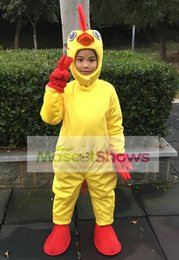 Wholesale Chicken Mascot Costumes - Adorable Yellow Cock Chicken Mascot Costume For Kids For Halloween Birthday Party Cartoon Charater Fancy Dress Size 110cm-130cm
