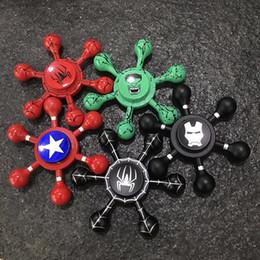 Wholesale Marvel Toys Mini - 2017 Fashion American Captain Shield Metal Fidget Spinner Iron Man Finger Toys Spiderman Superman Marvel Hero Fidget Spinner With Box