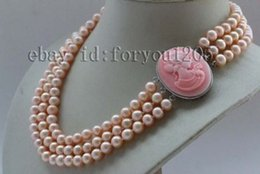 """Wholesale Pearls Cameo Necklace - 17-18-19"""" 3Rows Genuine Natural 8mm Pink Round Pearl Necklace Cameo #f2387!"""