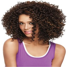 Wholesale Wholesale American Synthetic Wigs - Short Curly wigs Ladys' Hair Wig Short curly Africa American synthetic lace front Wig for black woman bea403