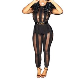 Wholesale Women S Fashion Bodysuits Wholesale - Wholesale- 2016 Jumpsuits Rompers Sleeveless O Neck Black Mesh Sexy Bodycon Women Jumpsuits Perspective Bodysuits