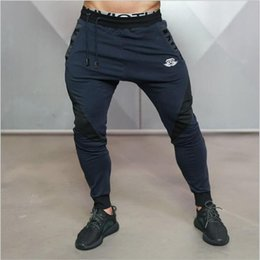 Wholesale boys sweat pants - Wholesale-Male Fitness Pants Sweat Pants Men Aesthetics Pan Wear For Runners Clothing Thin Sweat Trousers Boys
